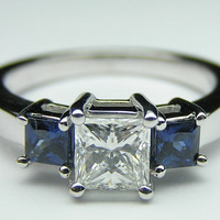 2.62ct Princess Diamond and Sapphire Engagement Ring 18kt White Gold JEWELFORME BLUE
