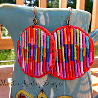 Round Fabric and metal earrings. Bright colored jewelry.