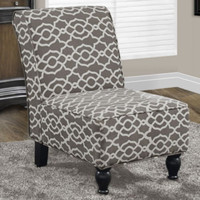 Traditional Accent Slipper Chair Living Room Furniture Brown Bell Pattern Fabric