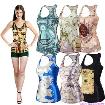 Summer Women Sports Tank Tops 3D Print The Lord of the Rings/The Hobbit/Egypt Pharaoh Pyramid/Tolkien Map Sleeveless Yoga Shirts
