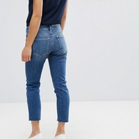 ASOS PETITE KIMMI Shrunken Boyfriend Jeans in Blake Vintage Darkwash with Stepped Hem at asos.com