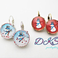 Mega Snowman Christmas Earrings, 18mm, Lever Back, Glass, Sparkle, Red, Blue, Winter,Statement,Drops, DKSJewelrydesigns, FREE SHIPPING