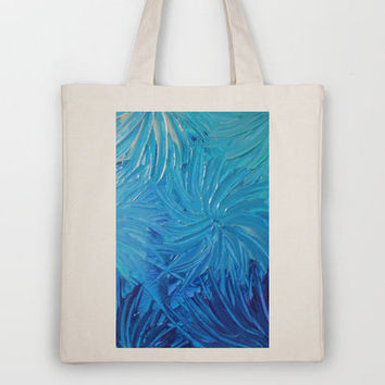 WATER FLOWERS 2 - Stunning Ocean Beach Waves Floral Abstract Acrylic Painting Turquoise Blue Navy Tote Bag by EbiEmporium | Society6