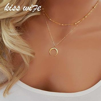 KISS WIFE 2017 New Fashion Double Horn Necklace Crescent Moon Necklace Boho Jewelry Minimal Girlfriend Gift