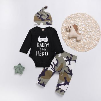 MUQGEW Fashion baby clothes set 3PCs Baby Boy Clothes Letter Cartoon Romper Tops+Camo Pants newborn clothes baby set roupa infan