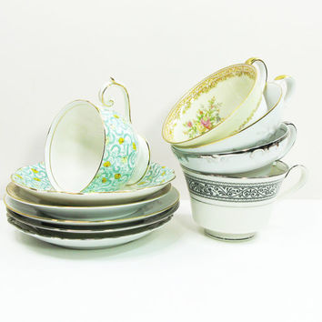 Vintage mixed-pattern tea or coffee cups and saucers - Unique bridal-shower or wedding favors (5 sets)