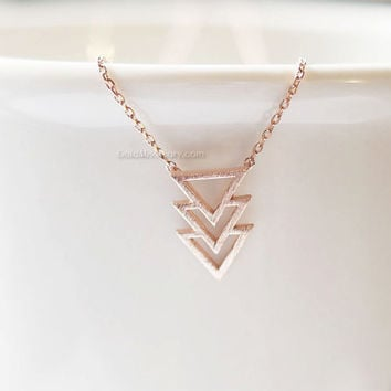 Tribal chevron necklace in rose gold /gold, tribal triangle necklace, Tribal necklace, Dainty Simple Layering Minimalist Necklace