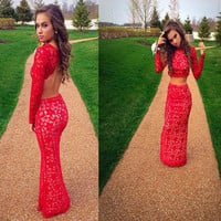 MZ-MSRHS Elegant Scoop Neckline Long Sleeves Mermaid Two Pieces Prom Dress 2017 Red Lace Evening Party Dress