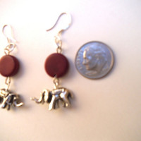 Tibetan Silver Elephants & Burgandy Tagua Nut Coin Beads Dangle Earrings, Vegetable Ivory, Vegan Vegetarian Eco-Friendly