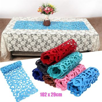 Hollow Felt Material Tablecloth Runners End Table Cloth Placemat Rectangle Mat