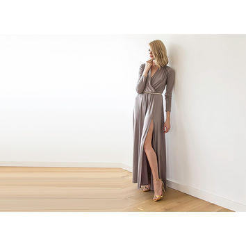 Side Slit Maxi Wrap Dress
