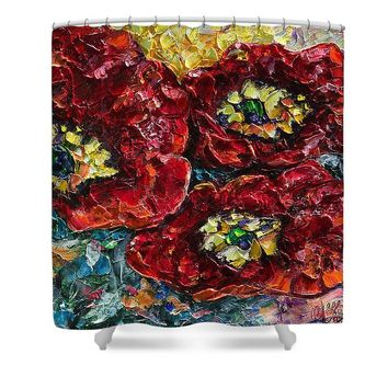 Diptych 2 Piece Painting Of Poppies Palette Knife Oil - Shower Curtain