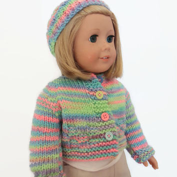 Knit Doll Sweater - Sweater and Hat Set - Rainbow Doll Sweater