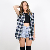 Vintage M L Grunge Navy Blue Green Plaid Flannel Sleeveless Shirt Vest Top