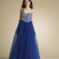 Charming Sweetheart Navy Sapphire Sequin Top Prom Dress