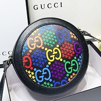 GUCCI New fashion multicolor more letter print round shoulder bag crossbody bag Black