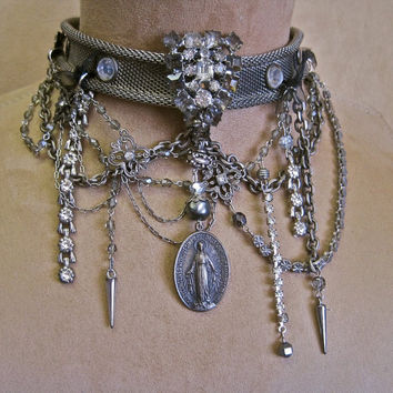PRAY For ME:  Gothic Wedding Choker Mesh Jeweled Vintage Assemblage Necklace with Religious Medallions-from year 1830