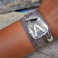 Capital Monogram Initial Jewelry, Silk Ribbon Bracelet, Yoga Fashion Wrist Wrap with Fine Silver Toggle, Custom Vintage Style Letter Jewelry