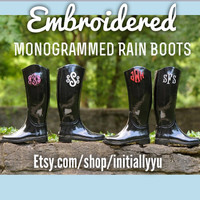 EMBROIDERED Monogrammed Rain Boots, Monogrammed  Wellies