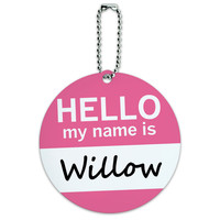 Willow Hello My Name Is Round ID Card Luggage Tag