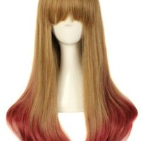 MapofBeauty Harajuku Style Mixed Flaxen/ Red Long Straight Cosplay Wig