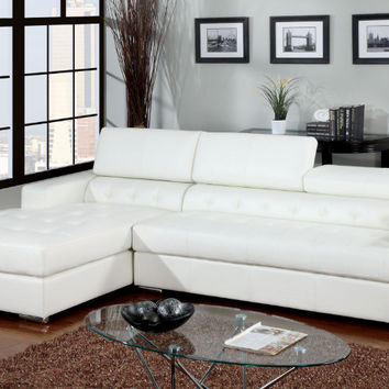 Furniture of america CM6122WH 2 pc Floria white bonded leather sectional sofa with adjustable headrests