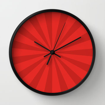 Red Sunburst Wall Clock by Kimberly Marie