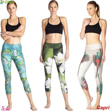 White Flower Capri Running Tights Workout Yoga Leggings Bird Printed Fitness Gym Sports Slim Fit High Waist Pants Elastic Women