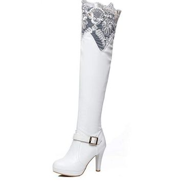 White Vintage Lace Denim Buckle Over Knee Boots