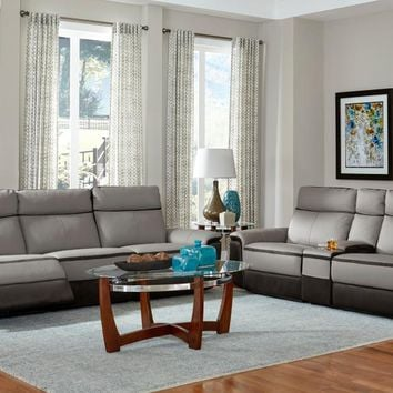Home Elegance 8318-2PC 2 pc laertes collection two tone grey top grain leather and darker tone fabric upholstered power reclining Sofa and Love seat
