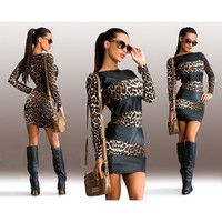 Fashion Leopard Multicolor Bodycon Dress