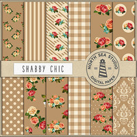 Shabby Chic Digital Paper Pack | Scrapbook Paper | Printable Backgrounds | 12 JPG, 300dpi Files | BUY5FOR8