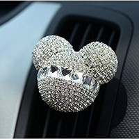 FINEX Auto Mickey Mouse Sparkling Car Fragrance Air Freshener Holder Container *Set of 2* (White)