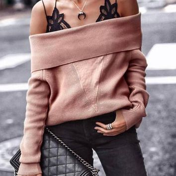 New Coffee Off Shoulder Long Sleeve Oversize Casual Pullover Sweater