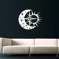 Sky Moon Stars Sun Wall Decal Vinyl Decals Sticker Interior Home Decor Vinyl Art Wall Decor Bedroom Nursery Baby Kids Children's Room SV5892