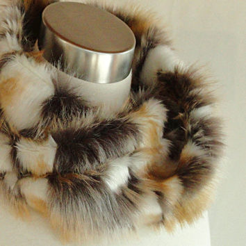 Fox Faux Fur Cowl - Infinity Scarf in Brandy, Taupe and Creamy White Textured Fox