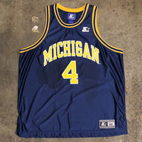 University Of Michigan Chris Webber #4 Starter Basketball Jersey Navy (Size 52 / XL)