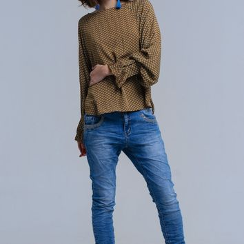 Blue skinny jeans with sequin details