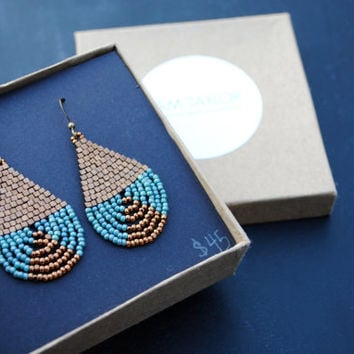Blue Lustre and Bronze Beaded Brick Stitch Earrings
