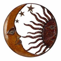 Celestial Metal Sun Moon Wall Decor, Bronze Gold and Rust Red -Benzara