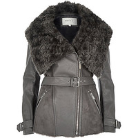 Dark grey belted faux fur jacket - biker jackets - coats / jackets - women