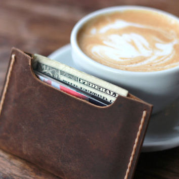 Men's Leather Wallet Sleeve / Wallets for Men -- Minimal Rustic Design featuring our Signature JooJoobs' Hand-Stitching - 008