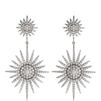 Bochic White Diamond Fancy Starburst Earrings