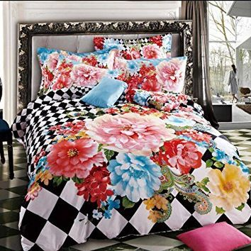 Lt Queen Size 100% Cotton 4-pieces 3d Pink Red Blue Yellow Colorful Flowers White and Black Plaid Plain Floral Prints Duvet Cover Set/bed Linens/bed Sheet Sets/bedclothes/bedding Sets/bed Sets/bed Covers/5-pieces Comforter Sets (4)