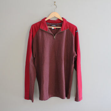 Tommy Hilfiger Sweatshirt Red Henley Long T-Shirt Slouchy Pullover Zip Up Henley Vintage Minimalist Unisex 90s Size L