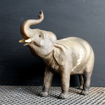 Vintage Hard Plastic Baby Elephant Toy, Sixties Retro Animal Figurine