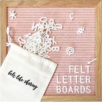 Light Pink Felt Letter Board 10x10 Inches. Changeable Letter Boards Include 300 White Plastic Letters & Oak Frame.