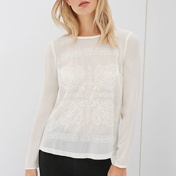 Contemporary Ornate Embroidered Chiffon Top