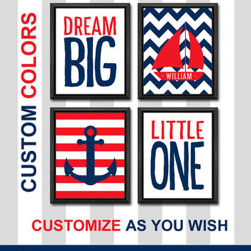navy and red baby boy nautical kids wall art kids name nursery art child wall art nautical playroom decor nursery wall saying dream big