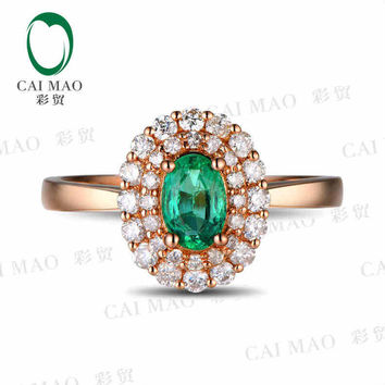 caimao 0.53 ct natural emerald 18kt/750 rose gold 0.43ct full cut diamond engagement ring  gemstone colombian